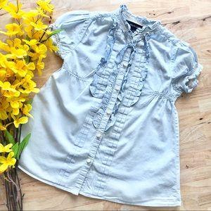 Ralph Lauren Girls Baby Blue Ruffle Lace Tunic Top